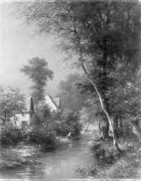 bewaldete landschaft mit bauernhäusern und einer wäscherin am fluss (hessische landschaft) by johann adolf hoeffler
