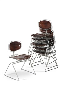 suite de 6 chaises beaubourg (set of 6) by michel cadestin and georges laurent