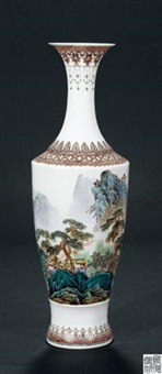 《碧溪》薄胎瓶 (famille-rose glazed with design of river) by deng youtang
