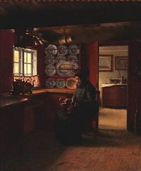 interior with a fanø woman polishing a kettle by aage sofus exner