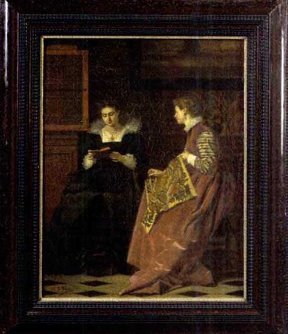 two women in a seventeenth century interior by c bleuse