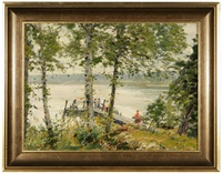island near cedar point, lake mackinac, michigan, figures on a dock by louis charles vogt