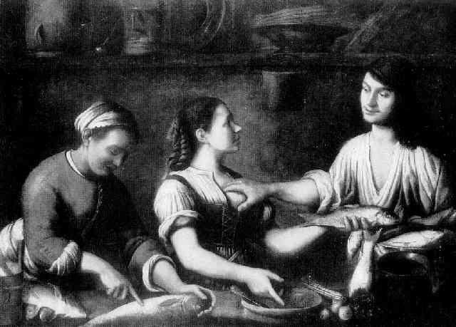 kücheninterieur mit zwei mägden und einem jungen mann by astolfo petrazzi