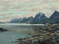 norwegian fiord with houses and boats (lofoten?) by conrad hans selmyhr