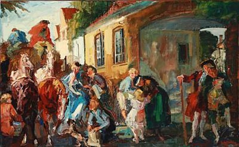 street life in a village by ludvig jacobsen