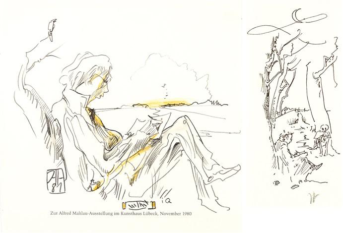 selbst zeichnend 2 works by horst janssen