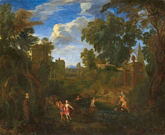 landschaft mit badenden nymphen by cornelis huysmans