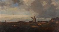 weite landschaft mit windmühle by jules dupré