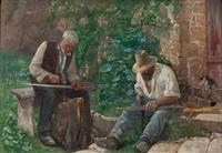 zwei männer beim dengeln by gustave jeanneret