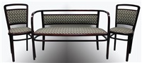 sofa und paar stühle (set of 3) (fabric designed by josef hoffmann) by otto wagner