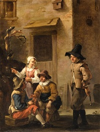 four figures conversing in the courtyard of an italian house by johannes van der bent