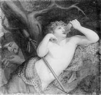 weintrinkender bacchusknabe mit einem satyr by johan josef langenhöffel