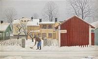 snöskottare - vintermotiv från trosa by reinhold ljunggren