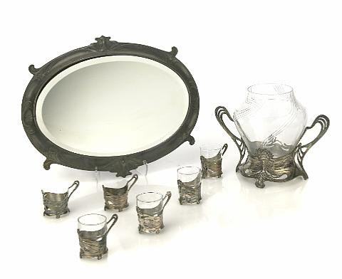 punch bowl and six cup frames 7 works by austrian school 20