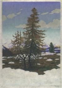 tannen im schnee by karl pferschy