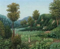 haitian landscape with figures by raymond dorleans