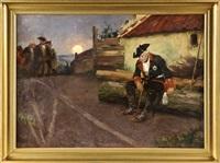friedrich der große nach der schlacht bei kolin, der könig sitzt nach der niederlage vor einem hof, während sich seine generäle vor der untergehenden sonne im hintergrund halten by arthur kampf