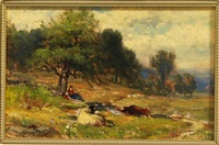 landscape with cows and a figure resting under a tree by samuel lancaster gerry
