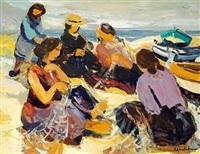femmes sur la plage by roland lefranc