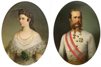 portraits of emperor franz joeseph i of austria and empress elizabeth by friedrich krepp