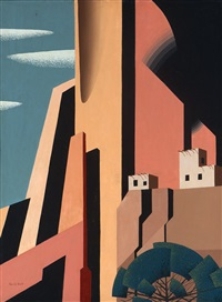 white house,, abstracted native american cliff dwellings by eyvind earle