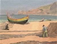 cleaning the nets (+ 2 others, 1 oil on board; 3 works) by edward w. ward