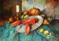 still life with fruits and lobster by carl h. fischer