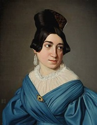 portrait of a young girl in a blue dress with a gold brooch. her hair with a large bone buckle and large pearl ear studs by niels peter holbech
