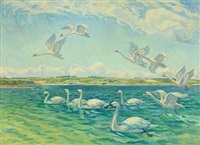 inlet with swans by wilfred glud