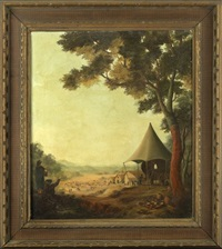 extensive view of a camp in a mountain valley landscape by paula bensliman