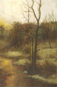 winter twilight landscape by robert gaston herbert