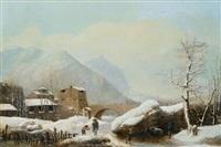 winterliche berglandschaft by jules cesar denis van loo