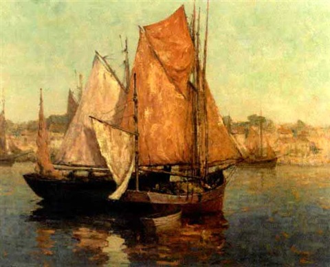 harbor scene by marcel louis sauvaige
