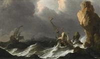 holländische schiffe im sturm vor einer felsküste by aernout (johann arnold) smit