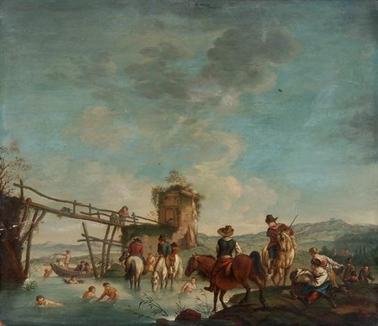 südliche flusslandschaft mit reitern landleuten badenden vor einem holzsteg by cornelis van poelenburgh