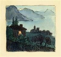 tessiner bergdorf am abendlichen see by hermann hesse