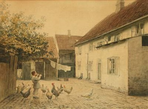 boy playing the flute among the chickens in the backyard by hans ole brasen