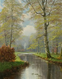 spring forest with beech trees and river by august jacobsen