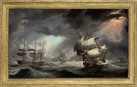a royal naval warship in two positions within a squadron of the red caught in a gale by robert dodd