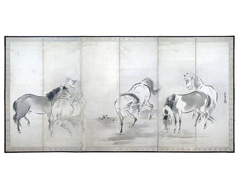 five horses 6 panel screen by kano yasunobu