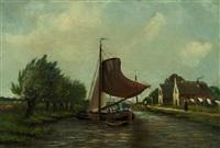 schiffe auf einem holländischen kanal by gerardus johannes koekkoek