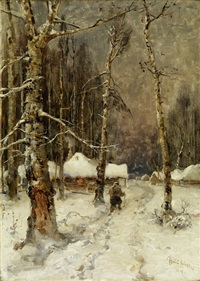 winterlandschaft by yuliy yulevich (julius) klever