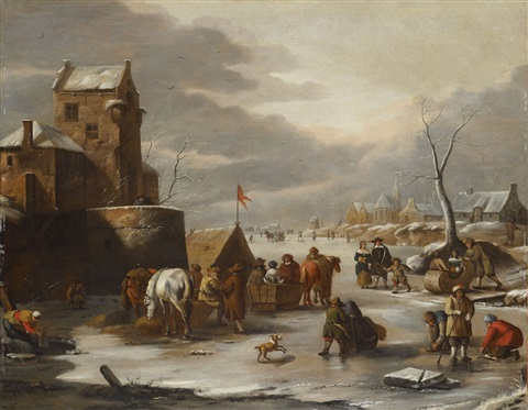 winter landscape with golf players by dirk maes
