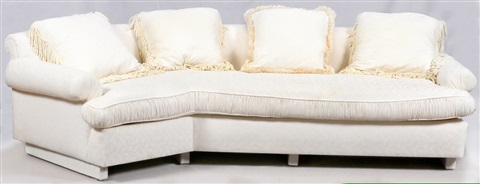 Superbe Contemporary White Upholstered Sofa By Baker Furniture Company (co.)