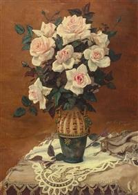 prachtvoller rosenstrauß in jugendstilvase by louis van hoorde