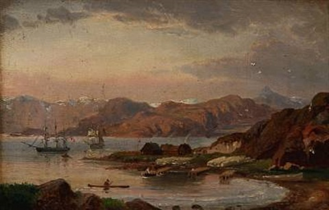 liner off a coast near a trading station or settlement greenland by daniel hermann anton melbye