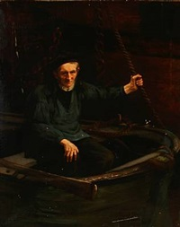 a fisherman in a rowboat by hermann pabst
