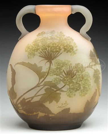 Galle Floral Cameo Glass Vase By Cristallerie Demile Gall On Artnet