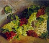 rote und weiße trauben mit weidenkorb by alfrida baadsgaard