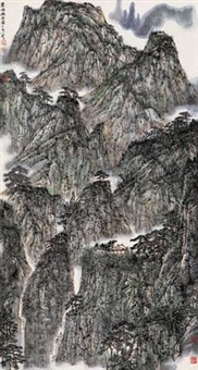 苍山幽谷图 (secluded valley in mountains) by li xiaoke